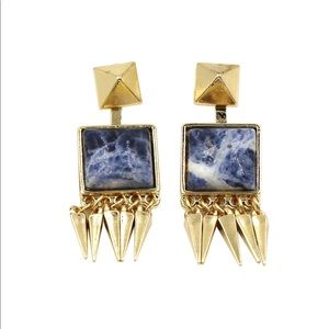 Blue square color stone gold earrings